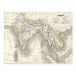 Vintage old world India map print postcard