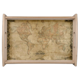 Vintage Old World Map 10 History Design Serving Tray