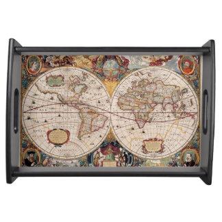 Vintage Old World Map 2 History-lover Design Serving Trays