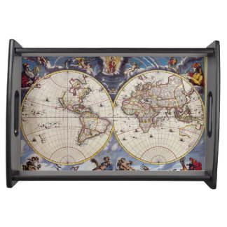 Vintage Old World Map 3 History-lover Design Serving Platters