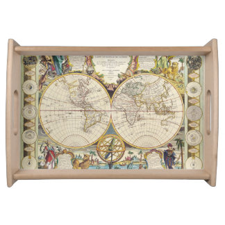 Vintage Old World Map 4 History-lover Design Serving Tray