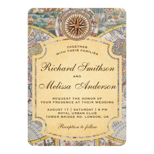 World Map Wedding Invitations.Vintage Old World Map Compass Wedding Invitation Zazzle Co Uk