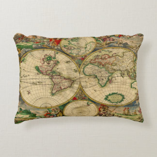 Vintage old world Map Decorative Cushion