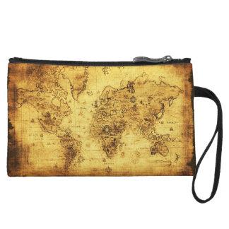 Vintage Old World Map Designer Wristlet Clutches