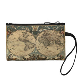 Vintage Old World Map Designer Change Purse
