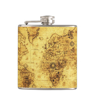 Vintage Old World Map History-buff Flasks