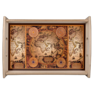 Vintage Old World Map History Designer Serving Tray