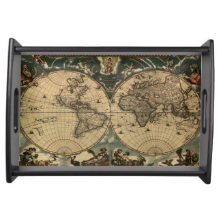 Vintage Old World Map History-lover Design Serving Platters