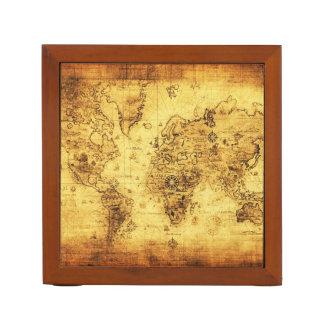 Vintage Old World Map History-lover Desk Organisers