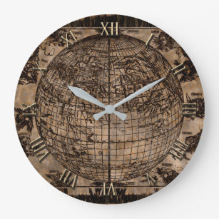 Custom world map wall clocks zazzle vintage old world map large clock gumiabroncs Gallery