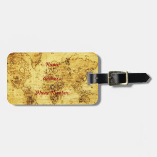 Vintage old world map luggage tag