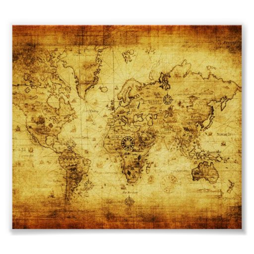 Vintage old world map poster