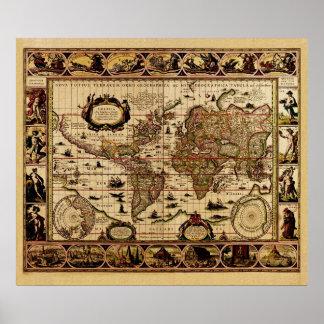 Vintage Old World Map Poster