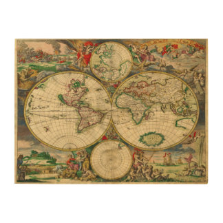Vintage old world Map Wood Print