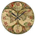 Vintage old world Maps Large Clock