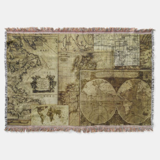 Vintage old world Maps Throw