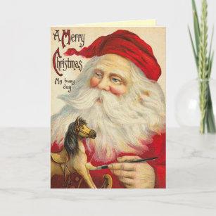 Vintage Old World Santa Christmas Card
