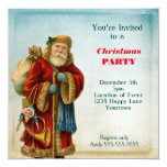 Vintage Old World  Santa Christmas Party 13 Cm X 13 Cm Square Invitation Card
