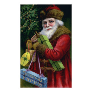 Vintage Old World Santa Claus Christmas Poster