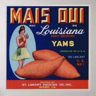 Vintage Old Yams Fruit Crate Labels Poster
