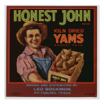 Vintage Old Yams Fruit Crate Labels Posters