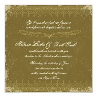 Vintage olive green damask wedding invitation