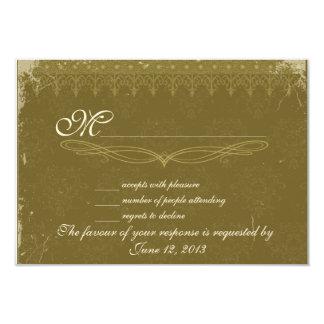 Vintage olive green damask wedding RSVP Card