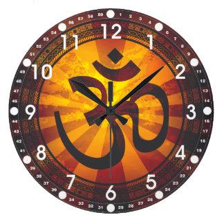 Vintage Om Symbol Large Clock