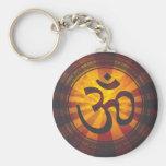 Vintage Om Symbol Print Basic Round Button Key Ring