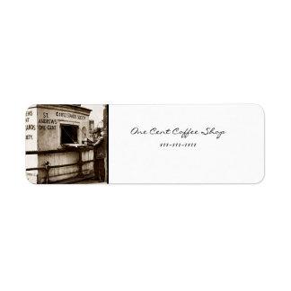 Vintage One Cent Coffee Sign Custom Return Address Label