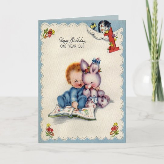 Vintage One Year Old Boy Birthday Card