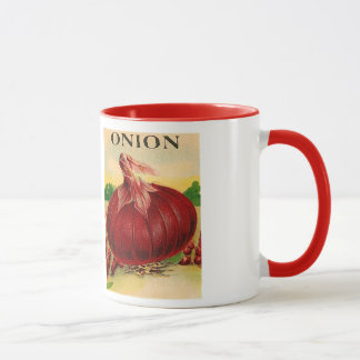 vintage onion seed packet mug