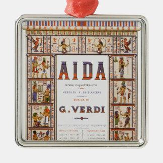 Vintage Opera Music, Egyptian Aida by Verdi Silver-Colored Square Decoration