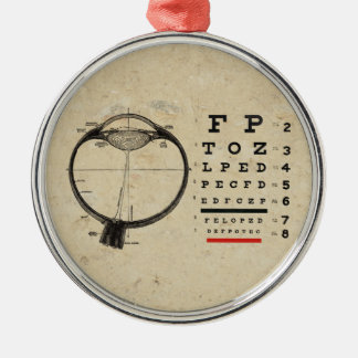 Vintage Ophthalmologist Optometry Eye Chart Silver-Colored Round Decoration