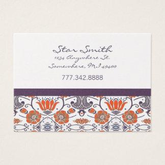 Vintage Orange and Purple Swirly Floral Pattern