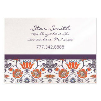 Vintage Orange and Purple Swirly Floral Pattern Business Card Templates
