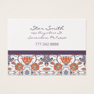 Vintage Orange and Purple Swirly Floral Pattern Business Card