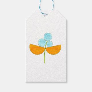 Vintage orange and sky blue flowers gift tags