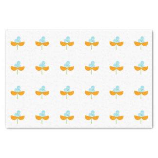 Vintage orange and sky blue flowers tissue paper