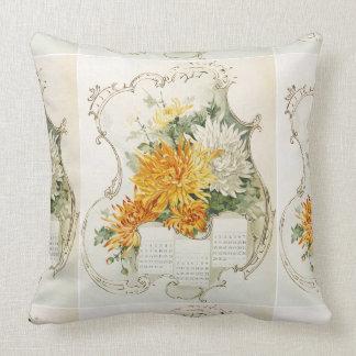 Vintage Orange and White Mums Calendar Cushion