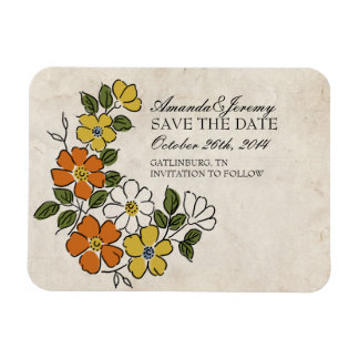 Vintage Orange and Yellow Floral Save The Date Rectangular Photo Magnet