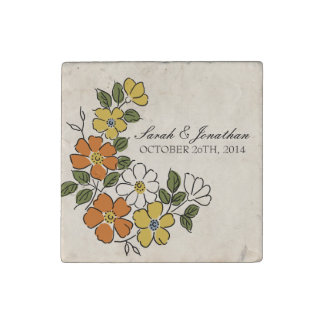 Vintage Orange and Yellow Floral Wedding Stone Magnet