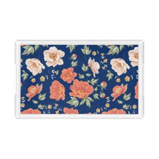 Vintage orange blue spring floral pattern painted