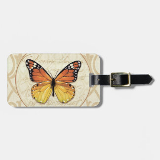 Vintage Orange Butterfly Luggage Tag