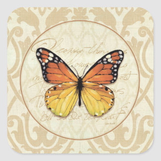 Vintage Orange Butterfly Square Sticker