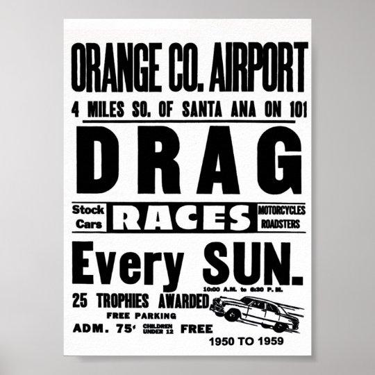 Vintage Orange County Airport Drag Racing Poster