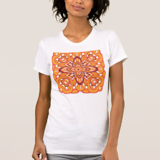 Vintage Orange Floral Retro Abstract Art T-shirt