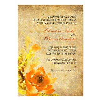 Vintage Orange Floral Wedding Invitation