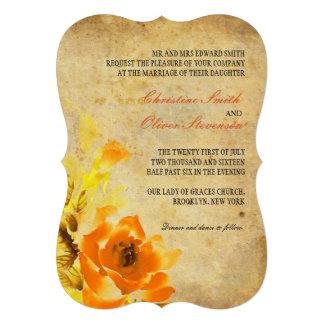Vintage Orange Floral Wedding Invitation Card
