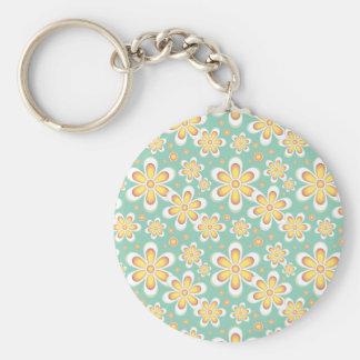 Vintage orange flowers basic round button key ring